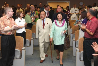 U.S. Sen. Daniel Inouye with his wife, Irene Hirano