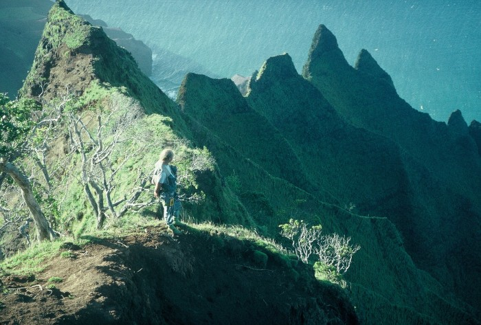 Steve Perlman, on the Kalalau cliffs on Kauai, Kauai. above Nakeikionaiwi. Photo ©Ken Wood