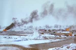 Angus Mordant photographed scenes of destruction and snow during the Standing Rock protest.